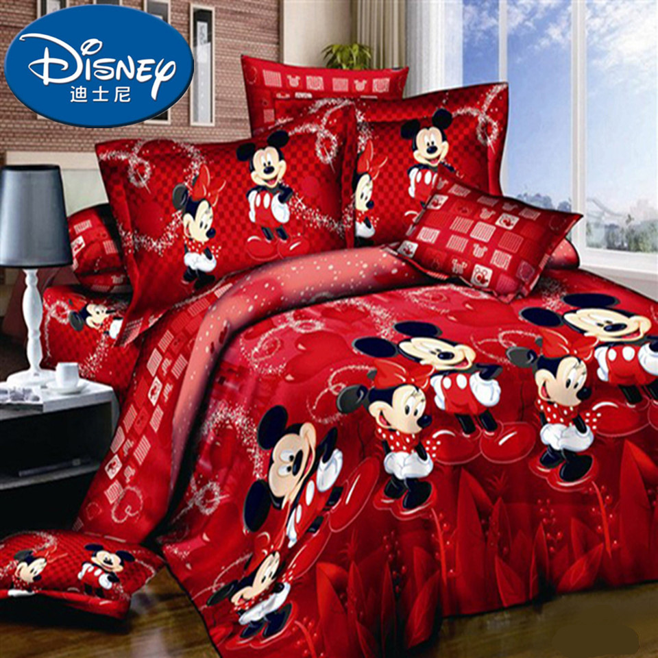 Coton Mickey Mouse 3 pièces ensemble de literie doux Mickey Minnie mouse ensemble de lit couette/housse de couette drap plat taies doreiller en lin marier