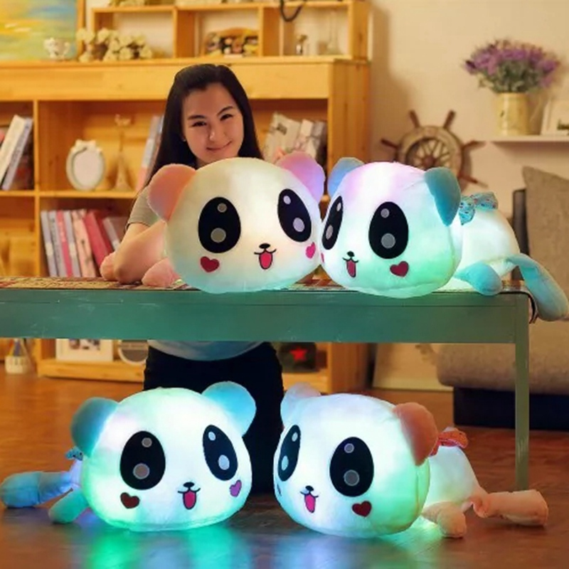 New lovely 35cm Colorful Led Pillow Glowing Panda Plush Doll Luminous Toys Birthday Gift for Girls WJ448 colorful panda фиолетовый l