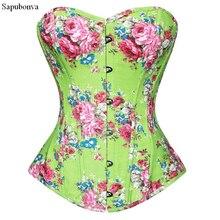 Sapubonva korsett bustier top bluse drucken floral dessous vintage liebsten brust korsett zip muster corsetto grün rosa sexy