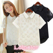 2018 Lady Retro Floral Print Hollow Chiffon Short Sleeve Doll Collar Blouse Tops Floral Shirts Laipelar fluted sleeve floral print blouse