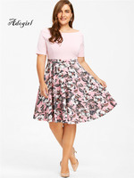 Adogirl 2018 New Arrival Plus Sizes 3XL 4XL 5XL Women Spring Fashion Floral Print Party Pleated