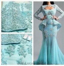 Elegante 2017 Abendkleider Mit Langen Ärmeln Spitze Formale Kleider Für Hochzeit Vestido De Festa Longo Schnelles Verschiffen