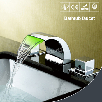 Three-colors change with temperature water tap  Waterfall LED Changing Color Bathroom Sink Faucet Basin Mixer Tap