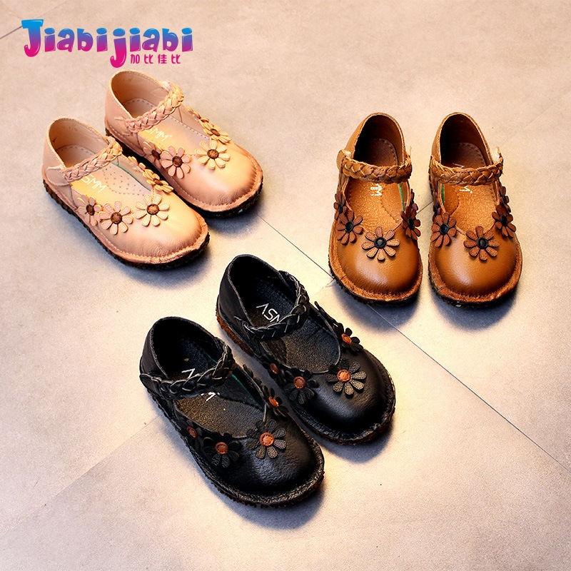 3-6T New Spring Maiden Flowers Princess Dress Shoes Flats Girl Single Shoes Toddler Kids Frail Fashion Genuine Leather Shoes 9