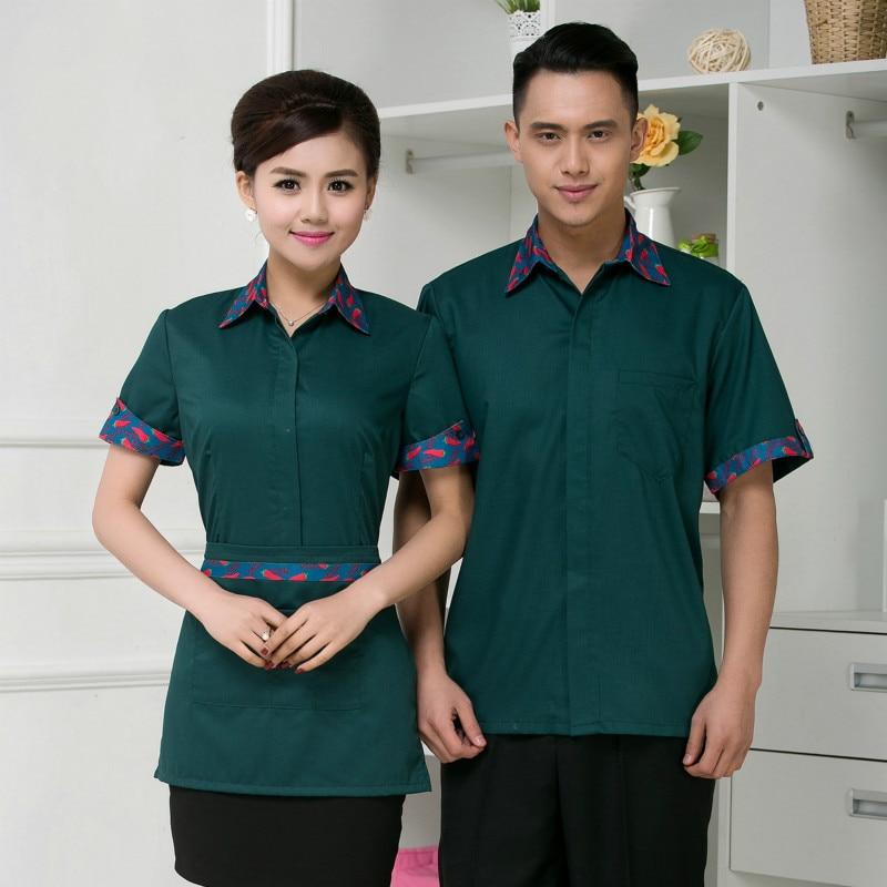 Waitress Restaurants Uniform Hotel Work Clothes Hot Pot Shop Tea House Catering Plus Size Breathable Short-sleeved Waiter H2261
