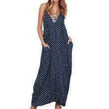5XL Plus Size Summer Dress 2019 Women Polka Dot Print   Sleeveless Sundress Loose Maxi Long Beach Bohemian Vintage Dress armajuice сок гранатовый 0 33 л