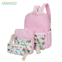 MIWIND New 2016 Lace KT Women Backpack Canvas Cartoon Printing Backpack Mochilas Schoolbags For Teenagers Travel
