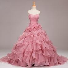 Long  train Luxury Princess Organza wedding dresses Custom color Bridal gown plus size vestidos de noiva robe de mariage
