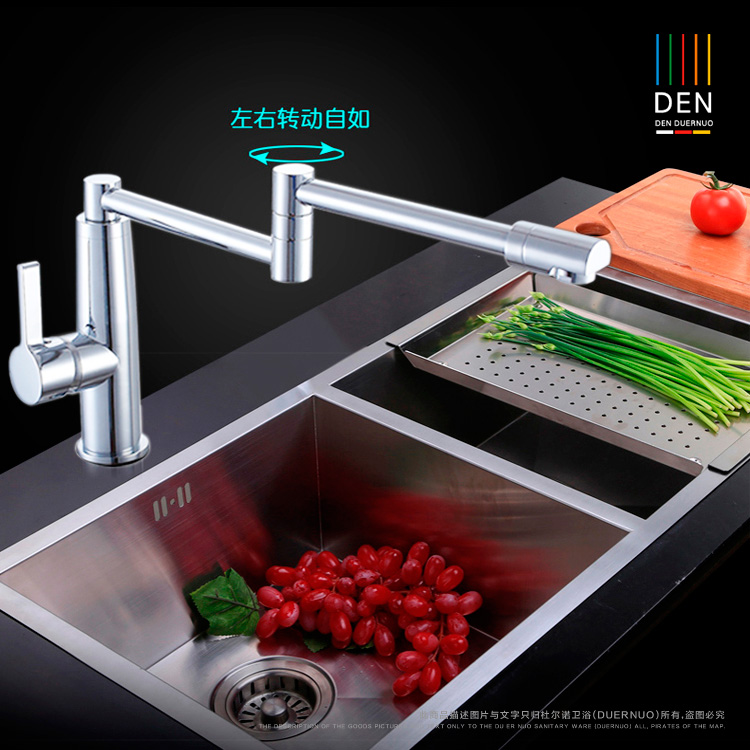 Full copper hot and cold kitchen folding faucet universal capable of 360 degree rotary Brushed sink