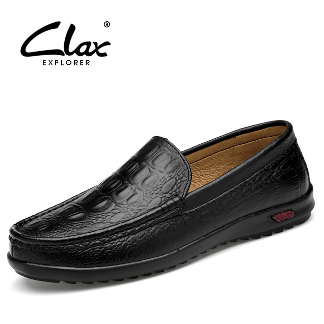 CLAX Men Loafers Genuine Leather Slip ons 2018 Spring Summer Desing Mens  Alligator Shoes Boat Shoe Flat Moccasin Breathable 5b4acbd728e1