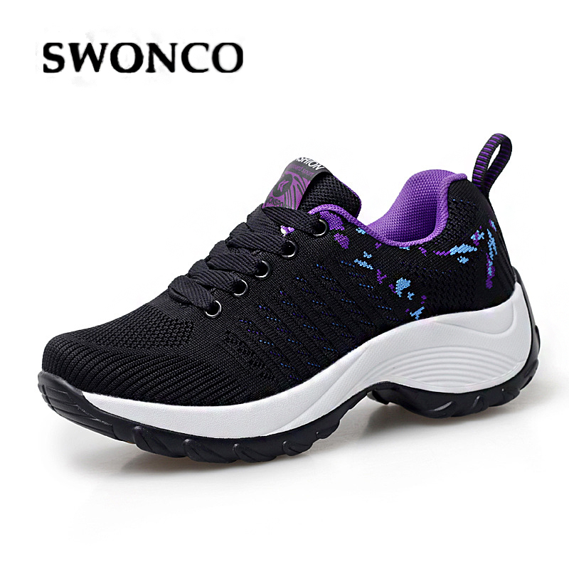 SWONCO Wedge Shoes Swing Lose Weight Woman Autumn Sneakers Platform 2019 Slimming Casual Shoes Wedge Female Chunky Sneakers 41