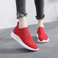 Women Sneakers 2018 New Vulcanized Shoes Ladies Red Slip OnCasual Shoes Breathable Walking Mesh Flats Large Size Couple Shoes