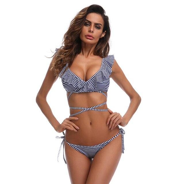 259914afdf Swimwear 2018 Style Ruffled Bandage Swimsuit Women Bathing Suit Beachwear  Brazilian Sexy Bikini Set maillot de bain Biquini