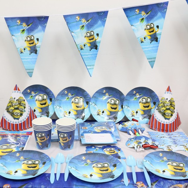 45pcslot Cartoon Minions kids 1st Birthday Theme Party Supplies