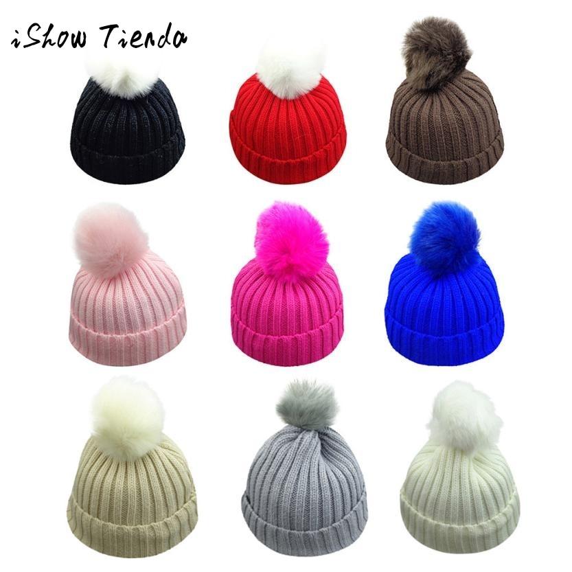 ISHOWTIENDA Toddler Children winter Knit Beanie baby Hat Fur Pom Bobble Crochet Cap newborn photography accessories Kids hat
