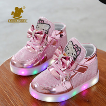 2016 New Cheapest Spring Autumn Winter Children's Sneakers Kids Shoes Chaussure Enfant Hello Kitty Girls Shoes With LED Light