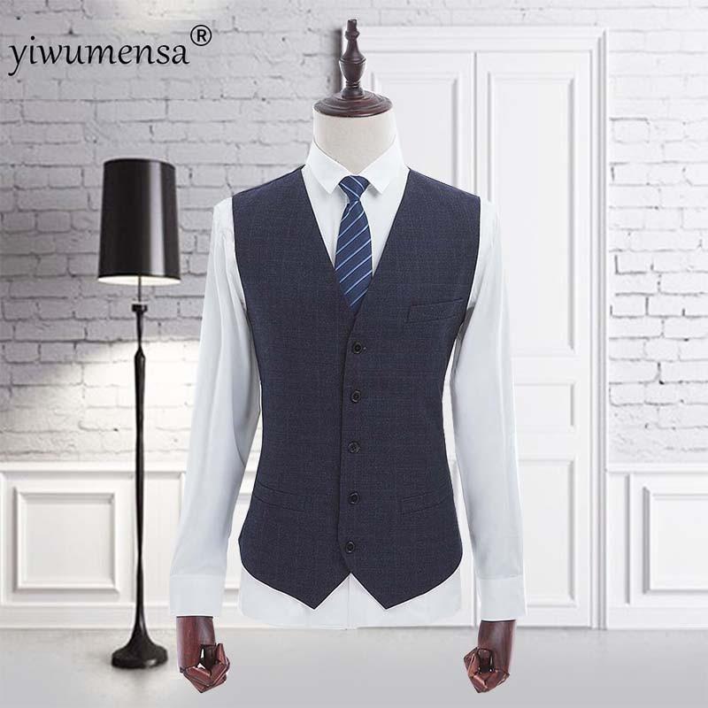 Yiwumensa marque mode printemps automne grande taille gilet costume gilet hommes veste sans manches Beige gris marron Vintage Tweed gilet