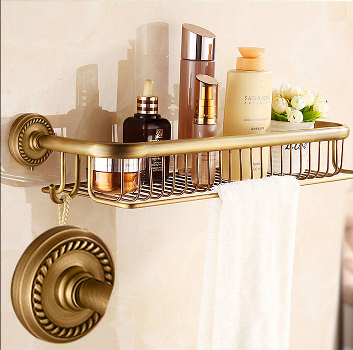 High quality New Arrivals total brass antique bathroom shelves with towel bar bathroom shampoo holder bathroom