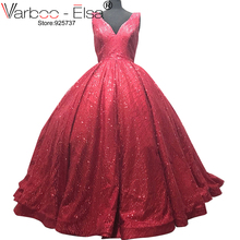 VARBOO ELSA Glitter Burgundy v-neck Evening Dress Elegant Sleeveless Ball Gown  Special Occasion Prom Dress 1fb44eadd9ac