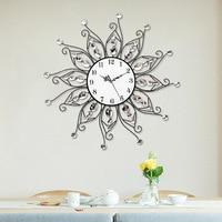 2017 New Style Free Shipping Diamond Flower Wall Clock Metal Large Wall Clock For Home Decor Quartz Wall Clock