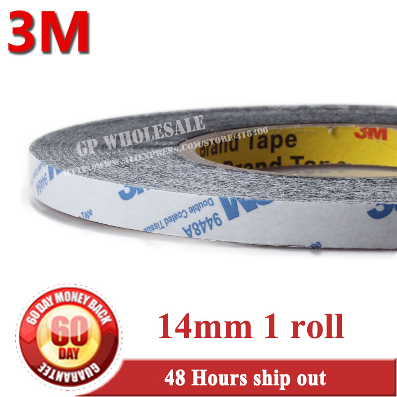 14mm* 50 meters 3M BLACK 9448 Double Sided Adhesive Tape Sticky for LCD /Screen /Touch Dispaly /Housing /LED/Touch Mobilephone 1x 76mm 50m 3m 9448 black two sided tape for cellphone phone lcd touch panel dispaly screen housing repair