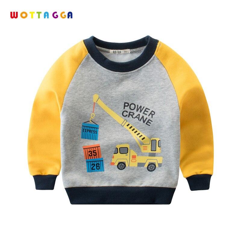 WOTTAGGA Boys Hoodie Sweatshirts Kids Tracksuit Cartoon Engineering Vehicle Pullover Toddler Coat 2018 Spring Long Sleeve