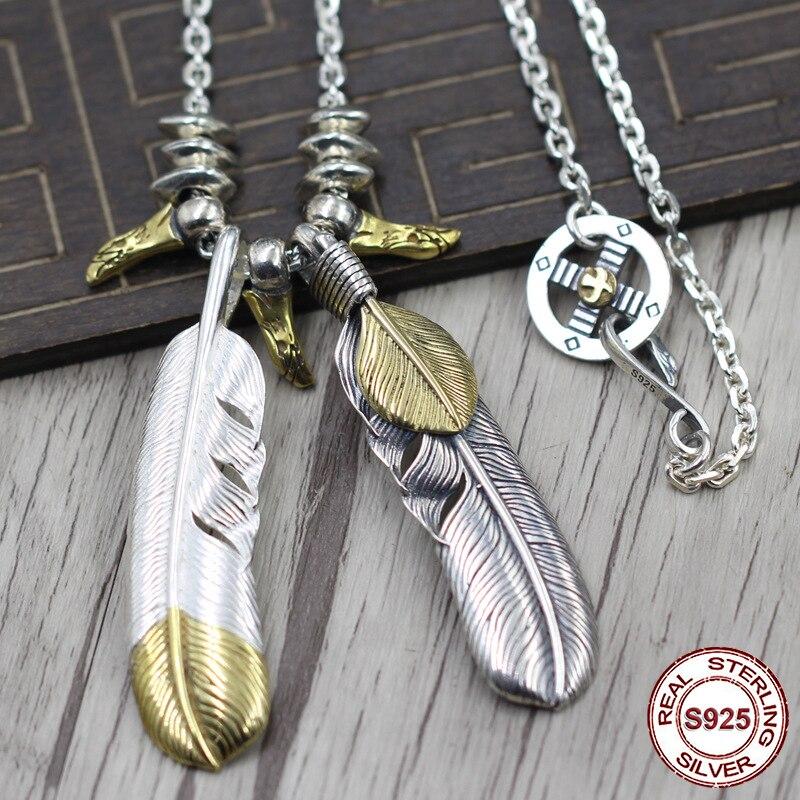 Здесь продается  S925 Sterling Silver Necklace Pendant Personality pop style Feather series Eagle cross wheel domineering modeling Send a gift  Ювелирные изделия и часы