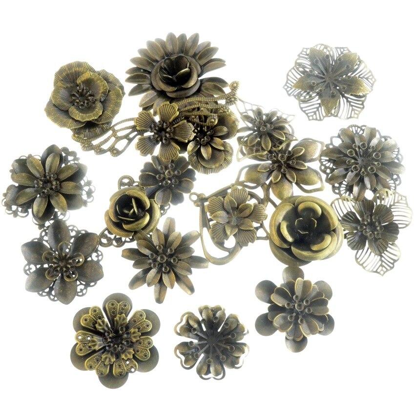 Free Shipping 4PCs Antique Bronze Filigree Flower Wraps Connectors Embellishments Crafts Gift Decoration DIY