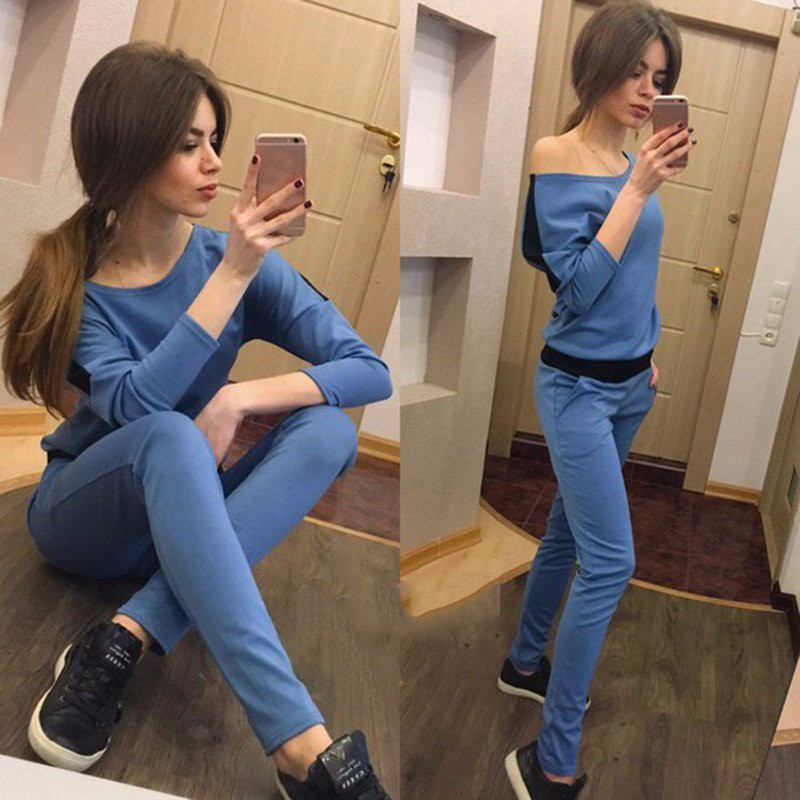 Free shipping spring and fall 2016 aliexpress selling Europe and explosion of MS color leisure suit lady's sets fashion
