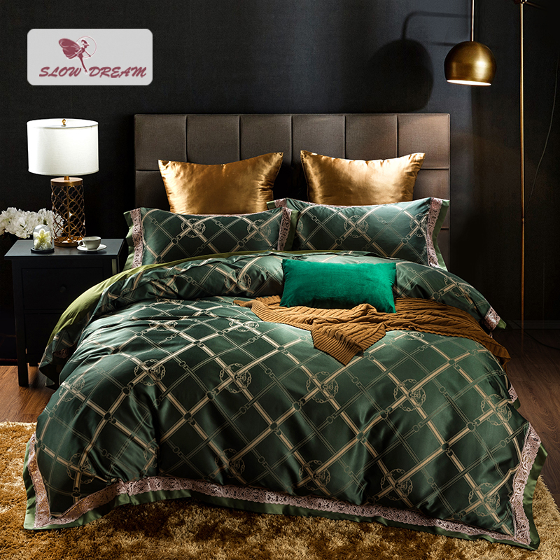 SlowDream Green Luxury Lace Decor Bedspread And Bedding Set Double Queen King Bed Linen Euro Set Adult Duvet Cover Home Bedding SlowDream Green Luxury Lace Decor Bedspread And Bedding Set Double Queen King Bed Linen Euro Set Adult Duvet Cover Home Bedding