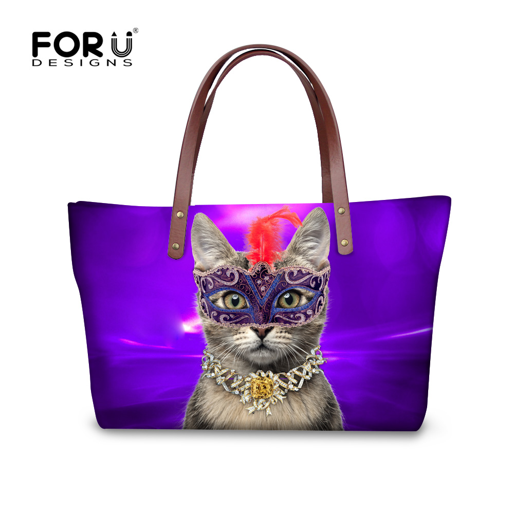 где купить FORUDESIGNS Retro Women Handbag Mask Cat Printed Shoulder Handbag Female Large Capacity Ladies Beach Bag Women Shopping Tote по лучшей цене