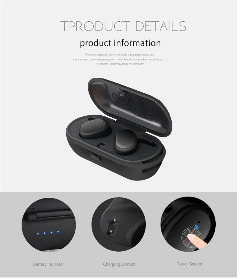 VONTAR Touch Control Mini Twins Wireless Earbuds TWS Earphone WaterProof Bluetooth Headphone with Charging Box Handsfree Style