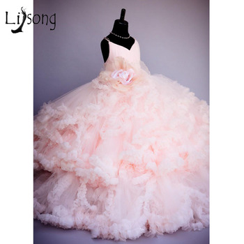 2016 Pink Flower Pageant Dresses For Girls Kids Ball Gowns Tiered Ruffles Backless First Communion Dresses For Girls To Wedding tulle glitz pageant dresses long flower girls dresses for wedding gowns ball gown girls first communion mother daughter dresses