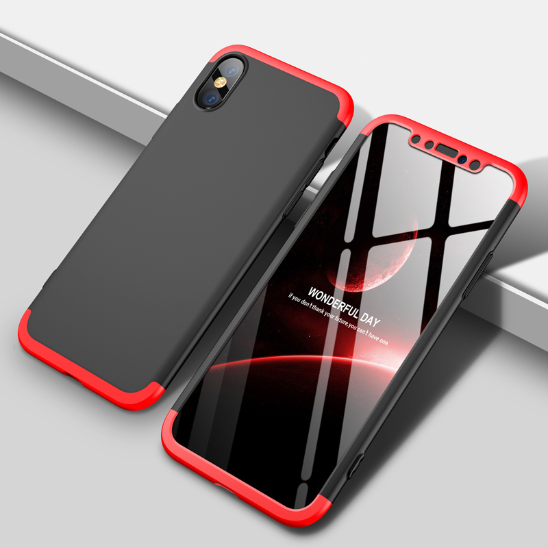 Case Cover for iPhone X Case Mofi Original 360 Armor Shockproof Black 3 in 1 Red Hard Coque for iPhone X