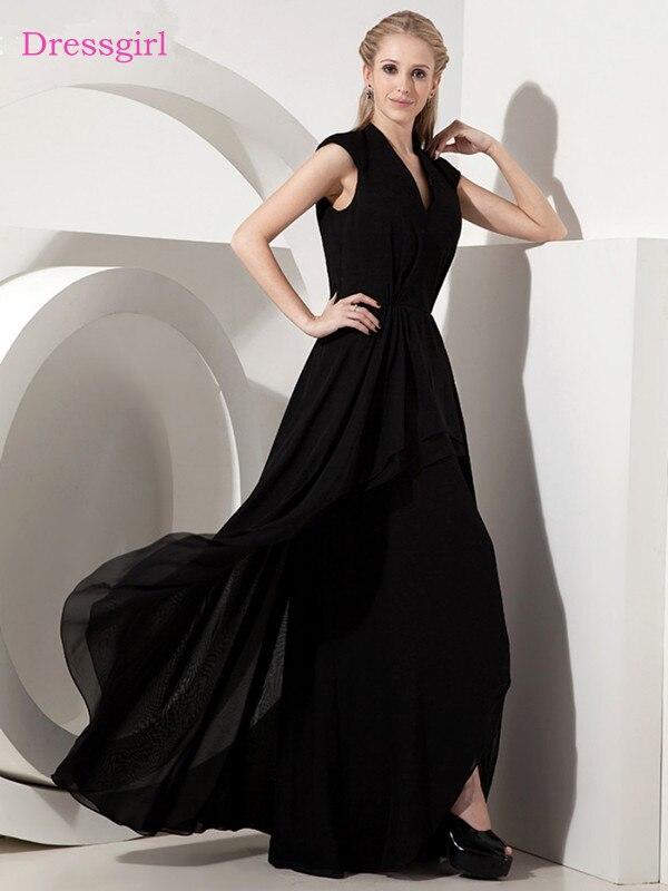 Noir 2019 mère de la mariée robes a-ligne col en v Cap manches en mousseline de soie plissée longue élégante marié mère robes de mariée