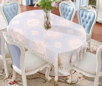 Oval tablecloth cloth, European style cloth, cotton and lace, fresh and modern minimalism.