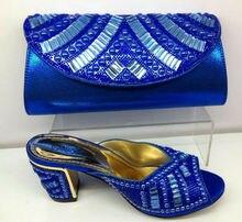 Mode Schuhe und Tasche BLAUE Farbe Sommer Afrikanischen Stil Super Wachs schuhe und Tasche Set Italien Elegante Italienische Frauen Schuhe und Tasche Set