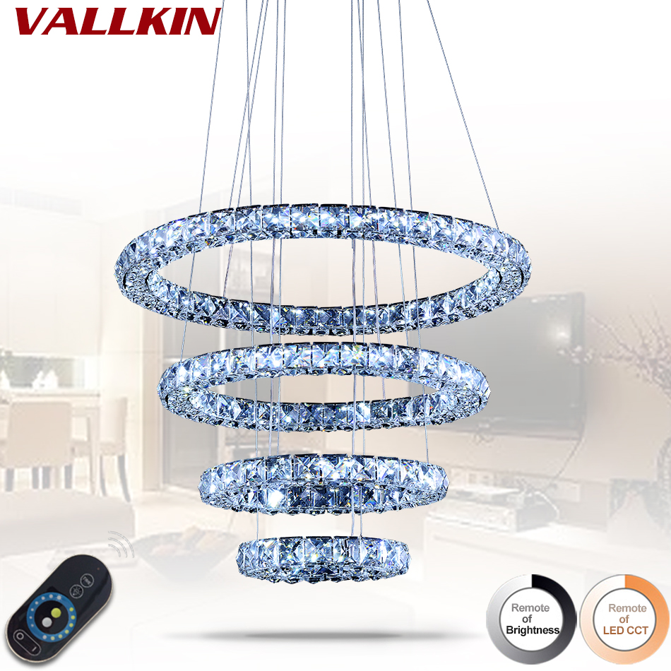 Dimmable Modern Crystal Pendant Light Circle Suspension Dining Room Hanging Lamp Diamond Ring LED Lights Cristal Lustre de sala