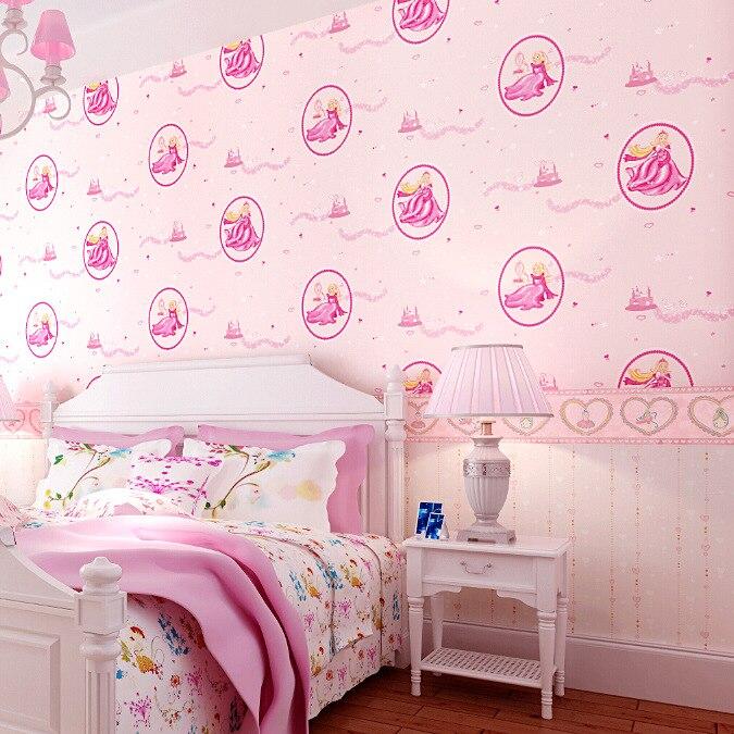 bedroom pink princess disney 3d fancy background romantic paper wallpapers decorate children waterproof eco friendly grade pure