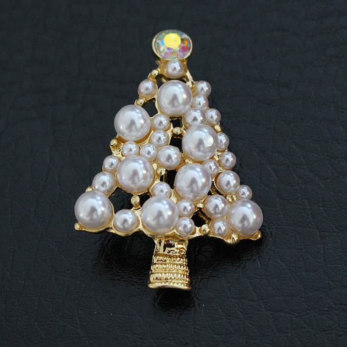 Brand New Design Alloy Pearl Bead Xmas Christmas Tree Badge Gift