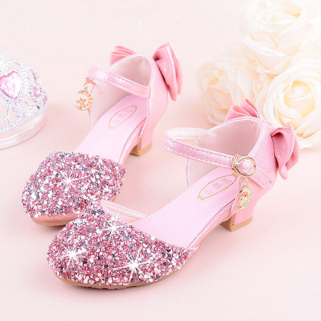 2019 girls bling 반짝이 bowtie 샌들, 하이힐, kids princess dance performance 여름 신발, 실버 & 핑크, 26 38