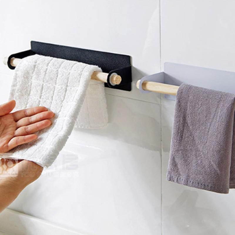 Vast Muur Opknoping Ijzer Enkelpolige Handdoek Bar Stickers Lijm Opbergrek Voor Keuken Doekjes Handdoek Houder Bespaar Ruimte Doek Drogen Stand