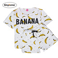 2016 Plus Size Tracksuit Set 2 Piece Women Sets New Minions Banana Clothes Brand Summer Sportswear Z7011