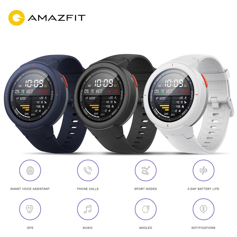 Versão global hua mi amazfit verge relógio inteligente gps ip68 amoled tela resposta chamadas smartwatch multi esportes para mi 8