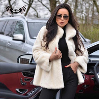 BFFUR 2018 New Winter Woman Natural Mink Fur Coats With Turn down Collar Plus Size Parka Fashion Slim Fur O Neck Harajuku Tops