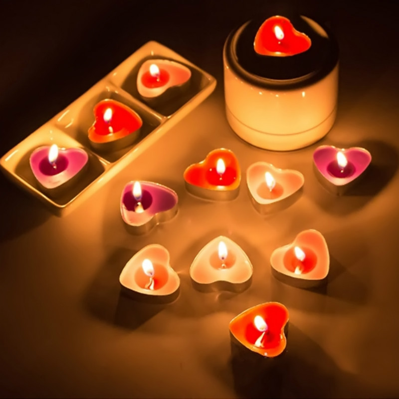 50 Pcs Heart Shape Vela Candle Birthday Wedding Party Home