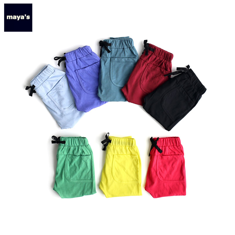 Mayas Kids Cotton Spring Pants Sports Solid Color Pocket Loose Pants For Boys Summer Breathable Girls Pants Free Shipping 81002