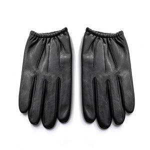 Image 4 - Luvas de couro genuíno, luvas masculinas de couro com veludo fino, tendência de moda para dirigir nm792b