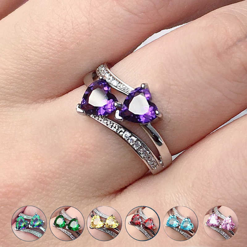 Huitan Stylish Female Rings Silver-plated Double Heart-Shaped Cubic Zircons Wedding Ring For Women Girls Nice Gift For Birthday