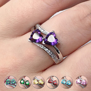Huitan Stylish Female Rings Silver-plated Double Heart-Shaped Cubic Zircons Wedding Ring For Women Girls Nice Gift For Birthday(China)